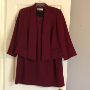Burgundy two piece suit-dress and short jacket